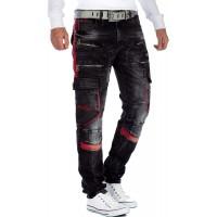 Cipo & Baxx Herren Jeans Hose mit Zipper und Kunstleder Bekleidung