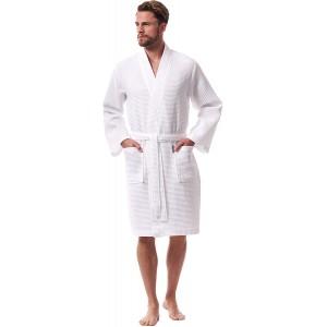 Morgenstern Herren Bademantel Waffel Leicht Bio Baumwolle Weiß Bekleidung