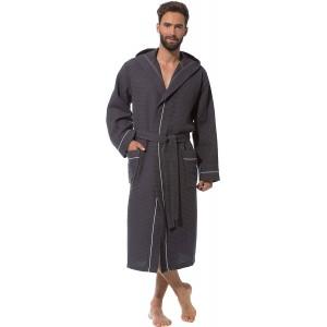 Morgenstern Waffelpique Bademantel Herren - Morgenmantel aus Baumwolle Bekleidung