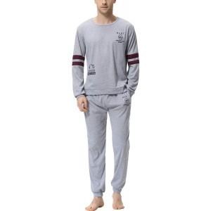 Aiboria Herren Schlafanzug Lang Zweiteiliger 100% Baumwolle Pyjama Set Langarm Nachtwäsche Hausanzug Bekleidung