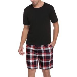Aibrou Schlafanzug Herren Baumwolle Kurz Nachtwäsche Zweiteiliger Pyjama Set Kurzarm Oberteil und Karierte Schlafanzughose Hausanzug Sleepwear Bekleidung