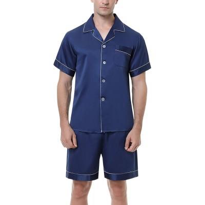 Hawiton Herren Schlafanzug Kurz Sommer Pyjama Nachtwäsche Set Kurzarm Shorty Baumwolle mit Streifen Bekleidung