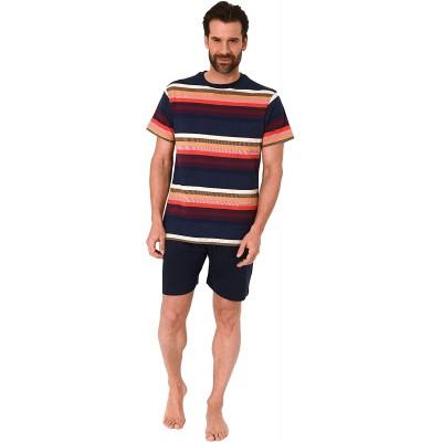 Herren Pyjama Shorty Schlafanzug Kurzarm in toller Streifenoptik - 102 105 90 770 Bekleidung