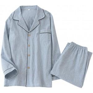 Herren Schlafanzug Lang Pyjama Zweiteiliger Hausanzug aus 100% Baumwolle Langarm Shirt und Pyjamahose Bekleidung
