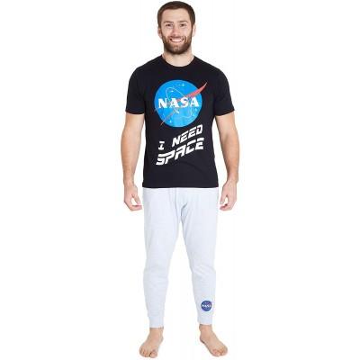 Nasa Herren-Schlafanzug-Set 2-teilig langärmelig aus Baumwolle Gr. M Schwarz Bekleidung