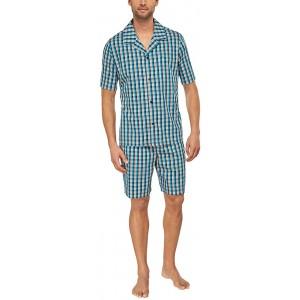 Seidensticker Herren Pyjama Kurz Zweiteiliger Schlafanzug Blau türkis 807 Small Herstellergröße 48 Bekleidung