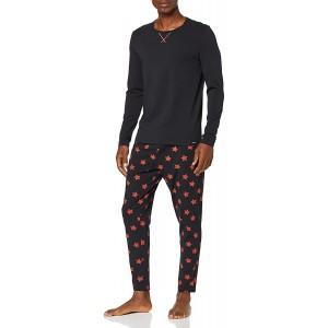 Skiny Herren Sloungewear Trend Pyjama lang Zweiteiliger Schlafanzug Schwarz Black 7665 X-Large Herstellergröße XL Bekleidung