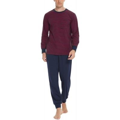 Sykooria Herren Schlafanzug lang mit Bündchen aus Baumwolle Zweiteiliger Pyjama Herren lang Langarm Shirt & Schlafanzughose Bekleidung