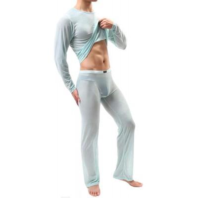 TikTako Dünne transparente Männer Unterwäsche Pyjamas Nachtwäsche Lange Sleevess Pyjamas Men Mesh-Komfortabler Set Bekleidung