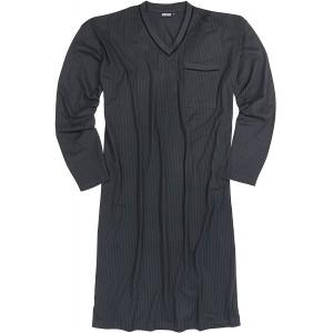 ADAMO Langarm-Nachthemd anthrazit mit schwarzen Streifen bis Übergröße 10XL Bekleidung