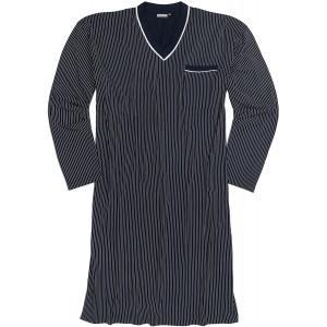 ADAMO Langärmliges Übergrößen Nachthemd in Navy mit weißen Streifen Größe 10XL Bekleidung