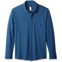 Hanro Herren Luca Long Sleeve Button Shirt Pyjama-Oberteil Top Dunkelmeer Groß Bekleidung
