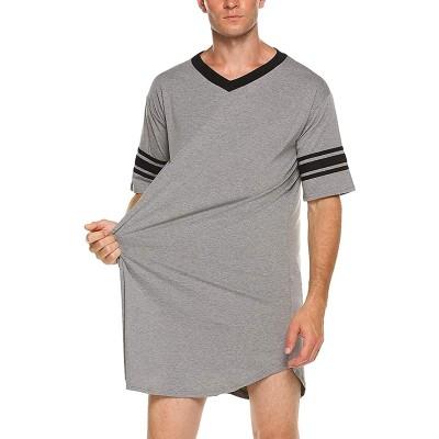 LIULIU Herren-Nachthemd aus Baumwolle weich kurzärmelig lockerer Pyjama-Top Übergröße Schlafshirt Plus Bekleidung