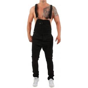 BOLAWOO-77 Herren Hosen Freizeithose Männer Overall Jumpsuit Jeans Denim Wash Mode Basic Broken Pocket Hose Hosenträgerhose Jeanshosen Arbeitshosen Latzhose Bekleidung
