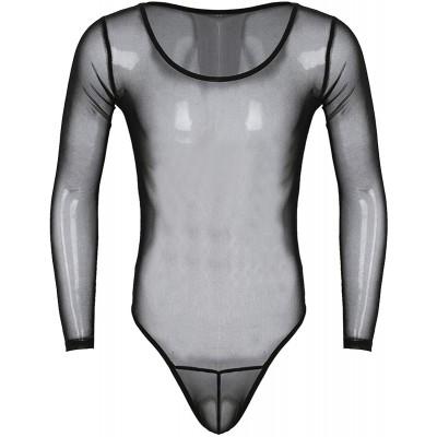 Choomomo Herren Bodysuit Langarm Overall Jumpsuit Transparent Unterwäsche High Cut String Sexy Dessous Schlafbody Unterhemd Reizwäsche Bekleidung