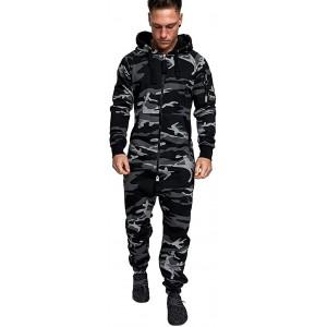 Dream Room Herren Overall Jumpsuit Onesie Jogging Sportanzug Trainingsanzug Camouflage Jogginganzug Herbst Winter Casual Hoodi Pullover Overall Pyjamas mit Reißverschluss Bekleidung