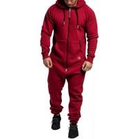 Herren Jumpsuit Overall Trainingsanzug Jogginganzug Einteiler Sportanzug Hausanzug mit Reißverschluss und Kapuze Slim Fit Bekleidung