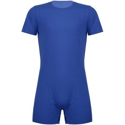iiniim Herren Body Overall Kurzarm T-Shirt Unterhemd Einteiler Bodysuit mit Druckknöpfe im Schritt Sportbody Kurze Hose Shorts Bekleidung