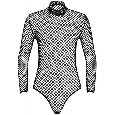 ranrann Herren Fischnetz Bodysuit Sexy Einteiler Overall Transparent Sportbody Unterhemd Unterwäsche mit Stehkragen High Cut Männerbody Bekleidung
