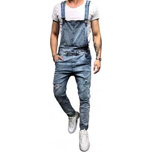 Shawnlen Männer Denim-Hosen Lässige Retro Combat Cargo Latzhose Latzhose Stonewash Jeans Jumpsuits 2XL hellblau Bekleidung