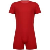 TiaoBug Herren Overalls Kurzarm Body Rundhals Unterhemd Boxer Shorts Unterhosen Männer Einteiler Stretch Unterwäsche Bekleidung