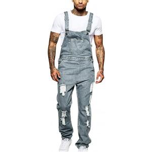 Tomatoa Männer Hole Pocket Jeans Overall Jumpsuit Streetwear Overall Hosenträgerhose Bekleidung