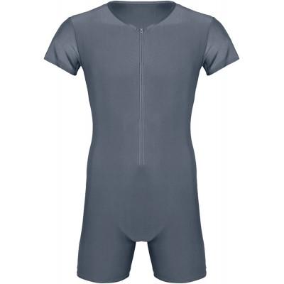 Yeahdor Herren Body Overall Kurzarm Einteiler T-Shirt Gymnastikanzug mit Bein Sportbody Schlafbody Elastische Unterwäsche Unterhemden Bekleidung