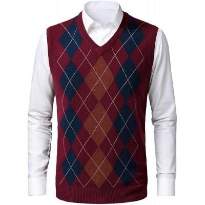 KTWOLEN Herren West Strickweste Pullunder Slim Fit V-Ausschnitt Argyle Pulloverwestee Casual Ärmellos Knit Pullunder für Herbst Winter Bekleidung