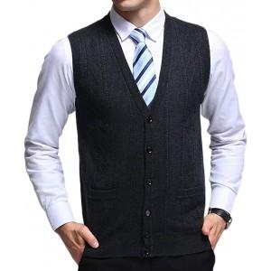 Liangzhu Herren Winter Strickweste V-Ausschnitt Knopfleiste Ärmellos Pullunder Weste Für Männer Bekleidung