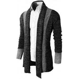 Brinny Herren Strickjacke Open Jacke Lang Cardigan Knit Mantel Strick Jacke Hoodie Hoody Sweatshirt Sweatblazer schwarz Gr. S Herstellergroesse M Bekleidung