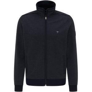 FYNCH-HATTON Herren Strickjacke Cardigan Rundhals - aus Premium Baumwolle - Strukturmuster Design Pullover mit Reißverschluss Stehkragen Sweatshirt Bekleidung