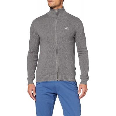 GANT Herren Cotton Pique Zip Cardigan Pullover Bekleidung
