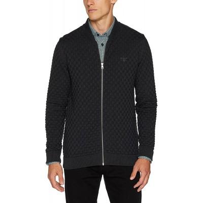 GANT Herren Cotton Texture Knit Jacket Strickjacke Grau Antracit Melange Large Bekleidung