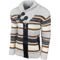 Herren Grobstrick Sweatjacke Strickjacke Schalkragen Slim Fit Winter-Freizeit-Jacke Moderne Männer Pulli Langarm Hoodie-Pullover B-51139 Bekleidung