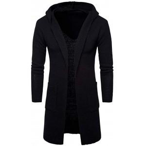 Herren Strickjacke Open Jacke Lang Cardigan Knit Mantel Kleidung Strick Jacke Hoodie Hoody Sweatshirt Sweatblazer Bekleidung