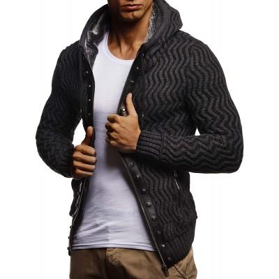 Leif Nelson Herren Strickjacke mit Kaputze Stylischer Hoodie Elegante Freizeitjacke Männer Jacke Slim Fit LN5680 Bekleidung