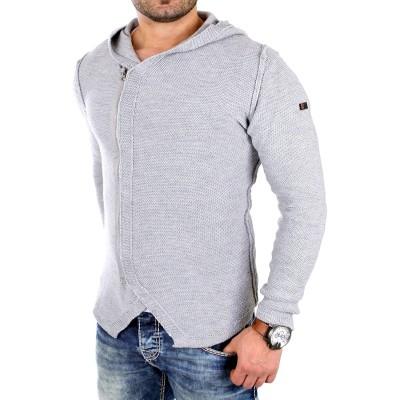 Reslad Strickjacke Herren Oversize Kapuzen-Pullover Zipper Jacke RS-1155 Bekleidung