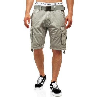 Indicode Herren Abner Cargo Shorts mit 7 Taschen aus 100% Baumwolle | Kurze Hose Sommer Herrenshorts Freizeitshorts Men Short Pants Cargohose Bermuda Sommerhose kurz für Männer Bekleidung