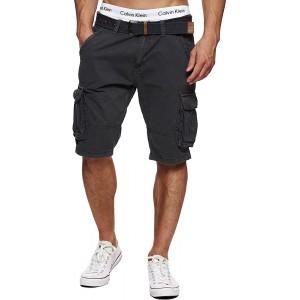INDICODE Herren Monroe Cargo ZA Shorts m. 6 Taschen inkl. Gürtel aus 100% Baumwolle | Kurze Hose Bermuda Sommer Herrenshorts Short Men Pants Cargohose kurz Sommerhose f. Männer in 13 Farben & 6 Größen Bekleidung
