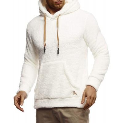 Leif Nelson Herren Hoodie Teddy Fleece Pullover mit Kapuze Kapuzenpullover für Männer Pulli Longsleeve Sweatshirt LN20105 Bekleidung