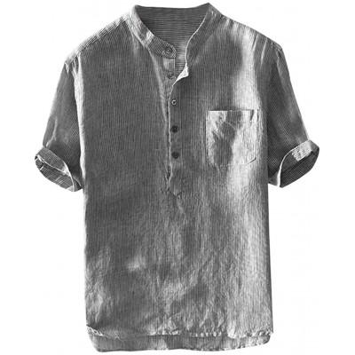 Celucke Herren Leinenhemd Henley Shirt Kurzarm Übergroße Casual Leinen Hemd Leichte Sommerhemden Sommer Strand Kurzarmhemd Atmungsaktives Freizeithemd Bekleidung