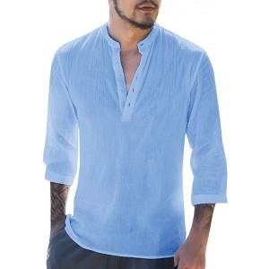 Gemijacka Hemd Herren Leinenhemd Herren Freizeithemd Henley 3 4 Ärmellänge Regular Fit Kragenloses Shirt Bekleidung