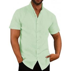 Pxmoda Herren Hemd Langarm & Kurzarm Leinenhemd mit feinem Revers Regular Fit Leinen Shirt Freizeithemd für Männer Ideales Sommerhemd Bekleidung