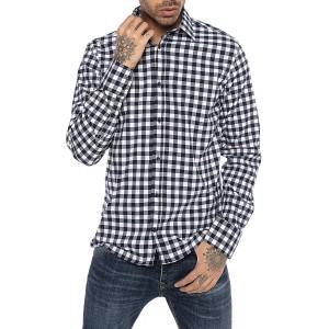 Redbridge Hemd für Herren Freizeithemd Langarm Baumwolle Kariert Modern Fit Bekleidung