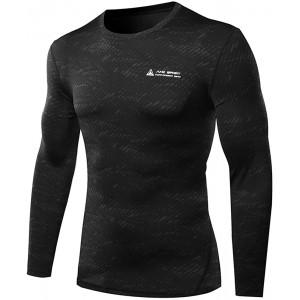 AMZSPORT Herren Kompressions-Shirt langärmlig Funktionsshirts Baselayer Langarm Bekleidung