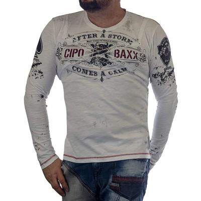 Cipo & Baxx Herren Sweatshirt Langarm Langarmshirt Rundhals Applikation Aufdruck Print Motiv Biker Label CL389 Bekleidung