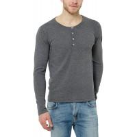 James Tyler Herren Feinstrick Langarmshirt mit Knopfleiste und Ellenbogenpatches Bekleidung