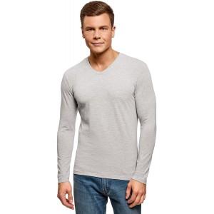 oodji Ultra Herren Langarmshirt mit V-Ausschnitt Grau DE 44 XS Bekleidung