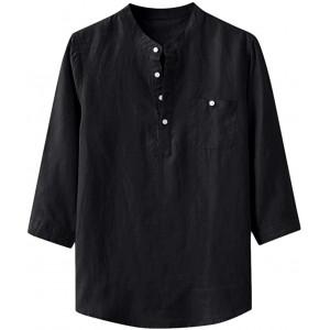 Celucke Leinenhemd Herren 3 4 Ärmel Henley Shirt Grandadkragen Vintage Leinen T Shirts Männer Freizeithemd Sommer Strand Urlaub Leichte Bequem Atmungsaktives Bekleidung