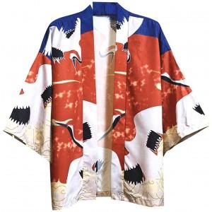 Dasongff Unisex Kimono Samurai Mantel mit 3D Ausdruck Japanische Frühling-Sommer Kimonos Cardigan Jacke Nachthemd Bademantel Nachtwäsche Baggy Tops Strandhemd Übergangsjacke Bekleidung